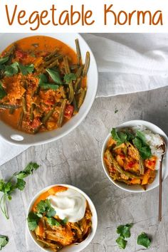 This vegan-friendly Vegetable Korma is an easy, homemade curry that uses easy-to-find ingredients, and a simple step-by-step recipe. Fall Recipes, Indian Food Recipes, Great Recipes, Vegan Recipes, Cooking Recipes, Favorite Recipes, Summer Recipes, Ethnic Recipes, Indian Foods