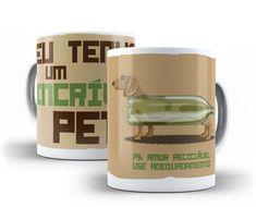 Caneca Pet    #ninecanecas #caneca #mug #decoração #presente #criativo #pet #cachorro #humor #divertida #engraçada #salsicha #garrafapet