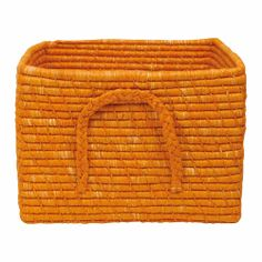 Square Basket Raffia 35 x 35 x 25 cm. Orange - Rice A/S Danish Interior Design, Square Baskets, Happy Colors, Fabric Wallpaper, Soft Furnishings, Kids Room, Storage, Santa Clause, Fabrics