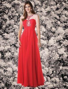 $176 Red Prom Dresses - Jewel Draped Chiffon Princess Floor Length Evening Dress