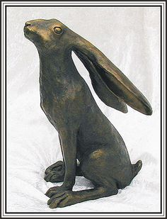 Moongazer hare in cast bronze. I have this little guy on my desk. He gets a stroke on his head every day! Sam Cannon, Sculpture Clay, Bronze Sculpture, Rabbit Garden, Quick Crafts, Tree Carving, Bunny Art, Ceramic Animals, Driftwood Art