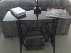 Homesteading | Repurpose       Love this repurpose of a sewing machine legs to make a vintage look table.  My cousin did this and I love  it.