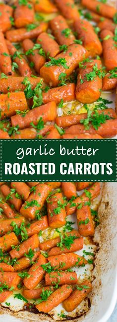 Garlic butter roasted carrots recipe with fresh parsley