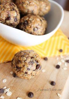 No Bake Energy Bites - oats, honey, toasted coconut, chia seeds, flax seeds, peanut butter, chocolate chips. Taste like cookies! - LaurendaMarie.com