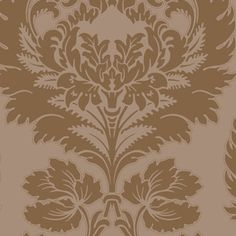 A large scale Early Victorian damask wallpaper, simplified by the Cole & Son Design Studio. Produced as a two colour surface print in warm gold on cameo, cream on grey beige, off white on old whit Luxury Wallpaper, Damask Wallpaper, Wallpaper Samples, Wallpaper Roll, Custom Wallpaper, Garage Floor Epoxy, Alternative To Plastic Bags, Cole And Son Wallpaper, Rustic Farmhouse Decor