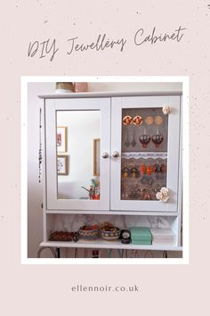 Diy Jewelry Cabinet, Jewellery Storage, Jewelry Holder, Repurposed Furniture, Dressing Room, Bathroom Medicine Cabinet, Craft Projects, New Homes, Arts And Crafts