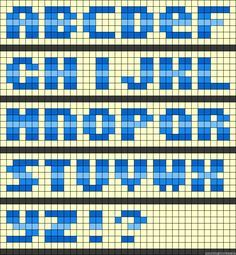 Learn to make your own colorful bracelets of threads or yarn. Motifs Perler, Perler Patterns, Peyote Patterns, Loom Patterns, Beading Patterns, Stitch Patterns, Tiny Cross Stitch, Cross Stitch Letters, Perler Bead Mario
