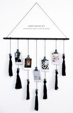 fashionlush, black & white home decor, diy wall hanging diy Room decor DIY Minimalist Wall Hanging Diy Décoration, Easy Diy, Diy Crafts, Simple Diy, Decor Crafts, Art Decor, Diy Hanging Shelves, Diy Wall Hanging, Hanging Organizer