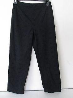 BROOKS BROTHER 346 - Black Eyelet Cotton Cropped Pants 8 Medium