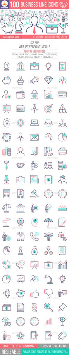 Buy 100 Business Line Icons by iconmonk on GraphicRiver. This pack contains 100 high quality unique 100 Business Conceptual Line Icons, ready to be used in Printing, Info-gra. Icon Design, Web Design, Logo Design, Graphic Design, Steps Design, Line Illustration, Illustrations, Best Icons, Information Design