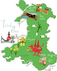 Melvyn Evans created this beautiful map for Morrisons Magazine's guide to a weekend in Wales. Melvyn illustrated all that Wales has to offer...