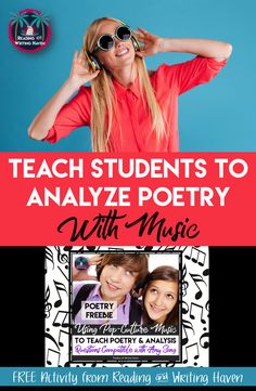 Looking for an engaging way to cover both poetry and analysis? Music is the best approach with teenagers. Try using this one-page analytical guide to almost any song, and watch the discussion unfold and students' analytical minds go to work. High school English lesson on poetry and analysis.