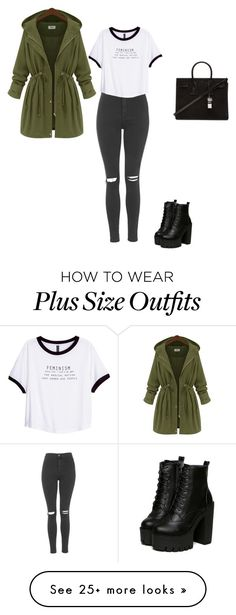 """Unbenannt #347"" by sina5439 on Polyvore featuring Yves Saint Laurent, Topshop and H&M super cute. don't gotta be plus size"
