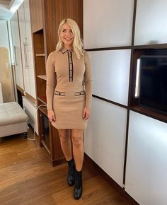 """Love Holly Willoughby on Twitter: """"Morning Wednesday! 🍯 @hollywills @thismorning… """" Holly Willoughby Outfits, Holly Willoughby Style, Mary Berry, Long Sleeve Mini Dress, Stunning Dresses, Stylish Outfits, Celebrity Style, Clothes For Women, Goddesses"""