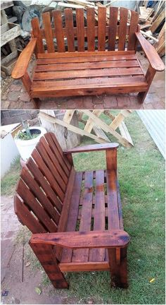 This image will make you show out with the brilliant creation of the wood pallet garden bench with the modish designing inside it. Hence the whole furniture coverage setting has been put together in this wood pallet structuring. Try it now!