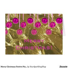 Merry Christmas Festive Pink Gold Baubles