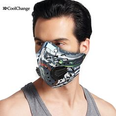 2017 CoolChange Cycling Mask With Filter 9 Colors Half Face Carbon Bicycle Bike Training Mask Mascarilla Polvo Mascaras Ciclismo