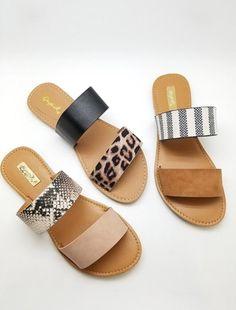 Women's Trendy Clothes, Shoes and Accessories shoes cute sandals Double Strap Sandal Cute Sandals, Cute Shoes, Me Too Shoes, Shoes Sandals, Leopard Sandals, Slide Sandals, Women Sandals, Flat Sandals, Trendy Sandals