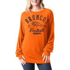 Women's Denver Broncos 5th & Ocean by New Era Orange Athletic Tri-Blend Pullover Sweatshirt