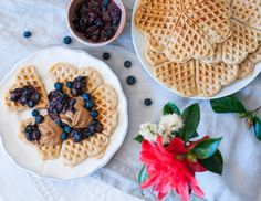 Oatmeal waffles with raw blueberry chia compote, watch the how-to-video on lealou.me