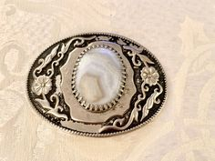 Vintage Belt Buckle White Opalesque Stone with Silver Scroll | Etsy Hall Pottery, Vintage Belt Buckles, Belts For Women, Black Backgrounds, Iridescent, Cowboy Hats, Vintage Ladies, Brown Leather, Stone