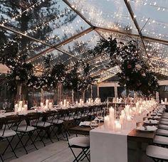 Enjoy the winter night sky under a dreamlike, clear tent wedding reception. Wedding Goals, Wedding Themes, Wedding Colors, Our Wedding, Wedding Planning, Dream Wedding, Wedding Table, Wedding Rustic, Wedding With Lights