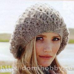 Бини-шапка с ажурным узором
