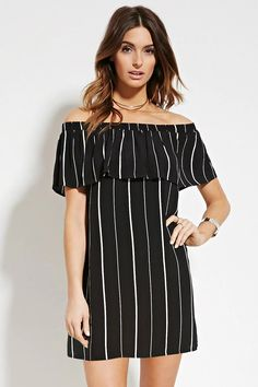 A woven mini dress featuring an allover striped print with an elasticized neckline, a flounce layer, and off-the-shoulder short sleeves. #f21contemporary