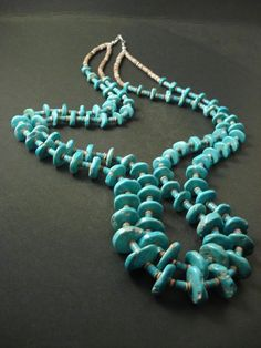 VINTAGE Navajo 2 STRANDS BLUE GEM TURQUOISE AND HEISHI Silver Necklace Old