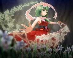 1280x1024 Wallpaper touhou, kagiyama hina, girl, green hair, art, red dress, flowers, ribbons