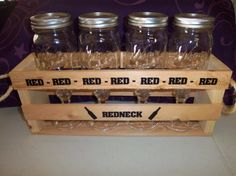 Red, Red, Red, Red...Redneck.   Set of 4 redneck wine glasses in a wooden crate