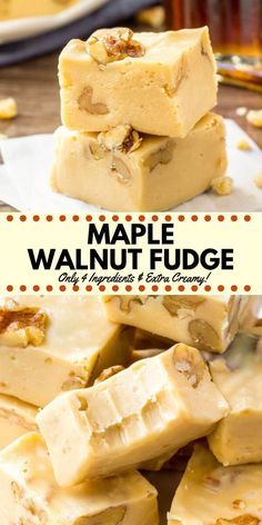 This maple walnut fudge is extra creamy with the perfect maple flavor. It's made with only 4 ingredients – so it' super easy & completely failproof. It's perfect over the holidays, and also makes a great gift! Candy Recipes, Sweet Recipes, Holiday Recipes, Baking Recipes, Keto Recipes, Vegetarian Recipes, Healthy Recipes, Christmas Fudge, Christmas Holidays
