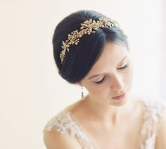 Gold filigree leaf Roman bridal crown  by EricaElizabethDesign, $405.00
