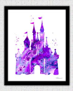 Purple Cinderella castle print Disney castle by FluidDiamondArt... {I would probably want it in a different color, but this is still a Cool print!!}