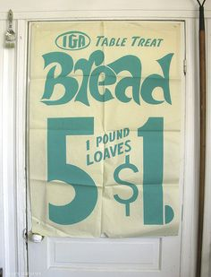 Vintage grocery store window poster - Silkscreened in about 1965 for a local grocery store in Old Orchard Beach, Maine. Retro Ads, Vintage Advertisements, Vintage Ads, Vintage Posters, Vintage Photos, Vintage Type, Window Poster, Old Signs, Old Ads