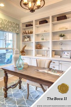 The Boca II model in Jacksonville, Florida features a coastal, calm home office that is perfect for a person who loves the beach.  homeoffice #creativeoffice #newhome #dreamhome #homedesign #construction #newbuild #design #officedecor #officedesign #beachyoffice #beachvibes #coastal office