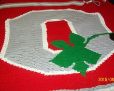 Football inspired   crochet lapgan, 50x60 inches Ohio State Buckeyes inspired, free US shipping by dnjcrafts on Etsy