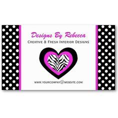 #Zebra #Heart & Polka Dots #Business #CardS