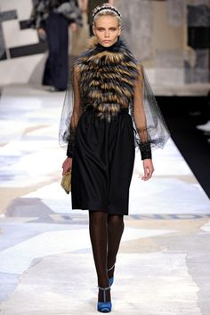 Fendi 2011 - beautiful outfit, love the fury-neck-piece