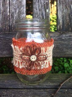 Burlap Mason Jar Wraps / Fall