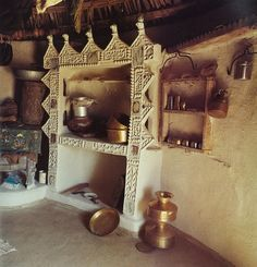 "I have finally compiled from my reading and researching the colour board for my next project, the Tribal House or ""Rollas' Bhunga"" which I w. Up House, Cozy House, Traditional Kitchen, Traditional House, Mud Hut, India House, Indian Interiors, Indian Village, Earth Homes"