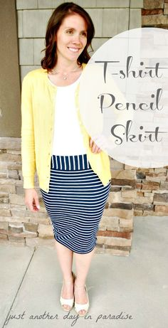 Just Another Day in Paradise: Pencil Skirt From T-shirt: Tutorial - DIY and Crafts Pencil Skirt Tutorial, T Shirt Tutorial, Diy Tutorial, Shirt Refashion, T Shirt Diy, Clothes Refashion, Diy Clothing, Sewing Clothes, Old T Shirts