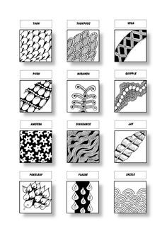Zentangle Pattern Sheet 14 Patterns: Tagh, Taghpodz, Vega, Purk, Miranda…