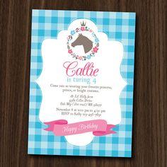 Pony Princess Invitation Printable, 5x7 DIY Invitation by MayDetails