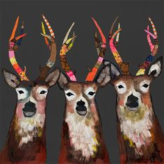 Designer Deer on Charcoal - Canvas and Paper Reproduction. Eli Halpin