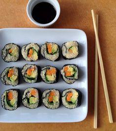 Quinoa Sushi with avocado, spinach and sweet potato - Yum! #gluten free #vegan