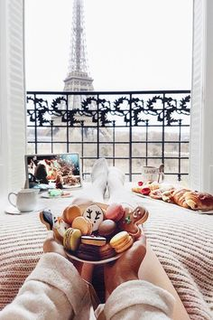 Breakfast in Paris France with a view of the Eiffel Tower Oh The Places You'll Go, Places To Travel, Travel Destinations, Paris 3, Paris Winter, Winter Time, Oui Oui, Adventure Is Out There, Travel Goals