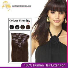 20inch 51cm 8pcs clip ins Remy Human Hair Extension #4 Medium Brown Color 100gram Natural Real Straight Clip in hair  $37.50