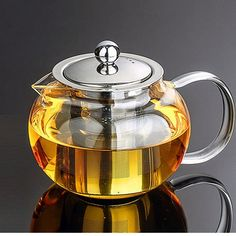 Modern Glass & Stainless Steel Teapot w/ Tea Infuser