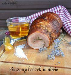 Boczek pieczony w piwie http://basiawkuchni.blogspot.com/2013/10/boczek-pieczony-w-piwe-z-nuta-lawendy.html